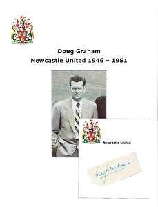 DOUG GRAHAM NEWCASTLE UTD 1946 1951 RARE ORIGINAL HAND SIGNED CARD