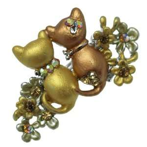 Magda Silver Gold Multi Col Cat Brooch Jewelry