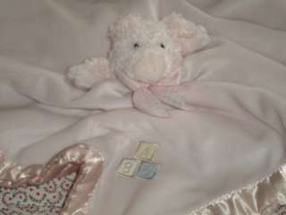 Bearington Collection Pink Pig Security Blanket Lovey Plush Rattle