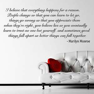 Marilyn Monroe Quote I Believe Wall Sticker Huge Decal Transfer Vinyl