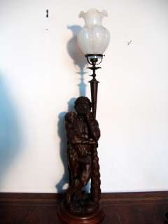 Antique Gas fixture Hercules carved wood Newel post lamp 35 inch