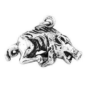 : Silver Three Dimensional Running Razorback Boar Hog Charm: Jewelry
