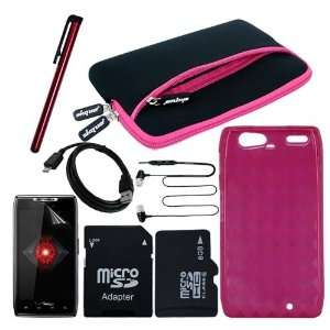 Protector + Hot Pink Gel Cover Case + Pocket Carrying Case(Hot Pink