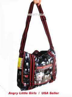 Angry Little Girls Black Messenger Bag Back to school