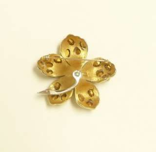 BIG AND BEAUTIFUL Large GOLDTONED Flower BROOCH Rhinestone Encrusted
