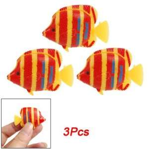 Manmade Orange Red Striped Tropical Fish Decor 3 Pcs for