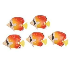 Como 10 Pcs Red Yellow Plastic Tropical Fish Decoration