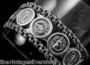 MEXICO MEXICAN STERLING SILVER ZODIAC ASTROLOGY BRACELET 15762