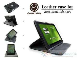 Acer Iconia Tab A500 Leather Case Stand 360° Rotating