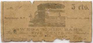 Civil War, Ogdensburg New York 1862 5 Cents Oswegatchie Bank, Boot