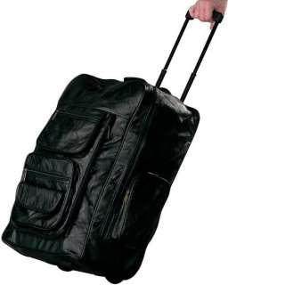 Genuine LEATHER Large 22 Rolling Bag Backpack Black