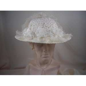 Elsie Massey #1003 Ladies Ivory Victorian Touring Hat w/ Ivory Lace