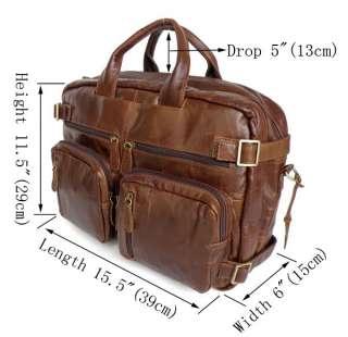 Vintage Leather Mens Briefcase Messenger Bag Travel Backpack Tote Bag