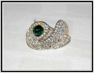 ART DECO Hollywood Glam Emerald Stone w/ Rhinestones Design FUR CLIP