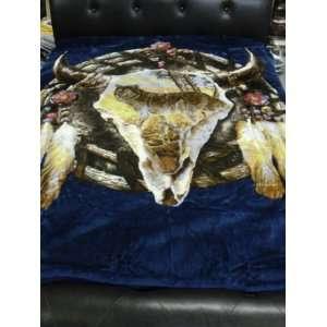 Queen Blanket Super Soft Dream Catcher Blue New