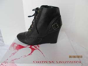 NIB CHINESE LAUNDRY AWAKEN Women Black wedgel boots booties sz 7.5 M $