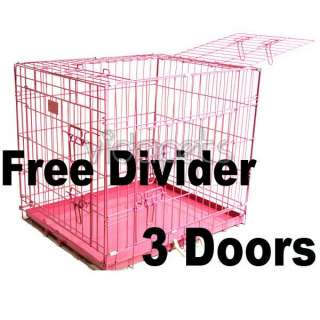 48 3 Door Pink Folding Dog Crate Cage Kennel Three 2