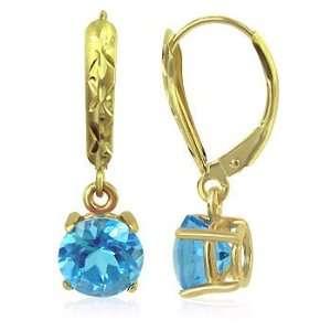 Yellow Gold 6 MM Round Blue Topaz Gemstone 14K Leverback Drop Earrings