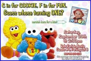 Sesame Street, Elmo, Cookie Monster Invitations & Favor