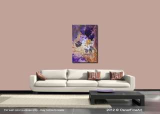 ORIGINAL abstract painting modern fine art purple lavender flowers by