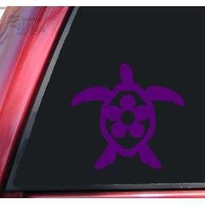 Flower Honu Hawaiian Sea Turtle Purple Vinyl Decal Sticker