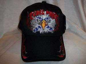 REBEL PRIDE BALL CAP HAT IN BLACK W/ BALLED EAGLE NWT