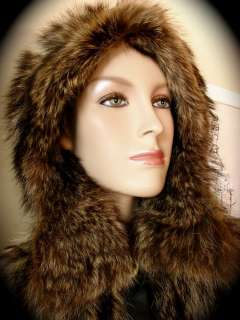 Genuine Raccoon Fur Cape Hood Toggles RARE Vtg Iconic Rich Hippie