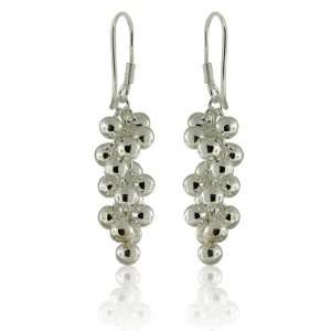 Silver Dangling Multi Hook Ball Earrings Designer Inspired Silver
