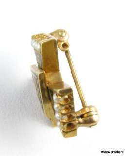 THETA KAPPA NU   14k Gold fraternity Pearl Engraved Pin