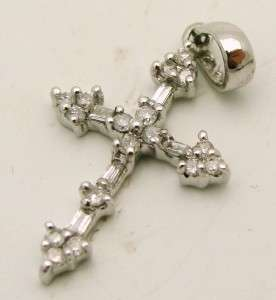 14K White Gold & Diamond Cross Pendant