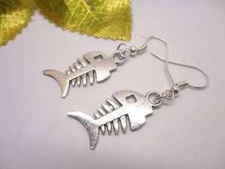 Tibetan Silver Plated metal Fish fishbone Dangle Hook Earrings 1 Pair