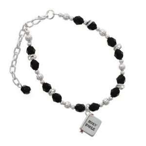 Silver Bible with Cross   3 D Black Czech Glass Beaded Charm Bracelet