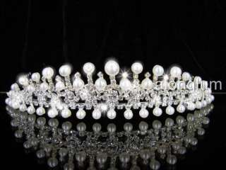 Pearl Wedding Bridal Crystal Rhinestone Swarovski Tiara