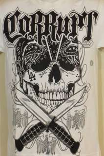 Corrupt T Shirt L.A. Tattoo Art Thug Bandana Skull & Crossed Daggers S