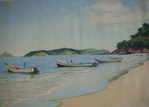 Vintage Original Oil Painting Beach Boat Sea 31X19