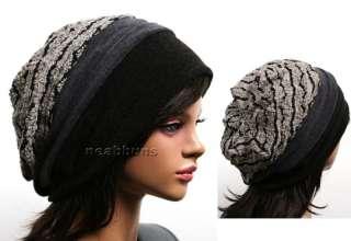 chic ladies BEANIE hats women black beenie cap Hat wav