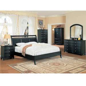 5Pc Contemporary Modern Black King Panel Bed Bedroom Set Furniture NEW