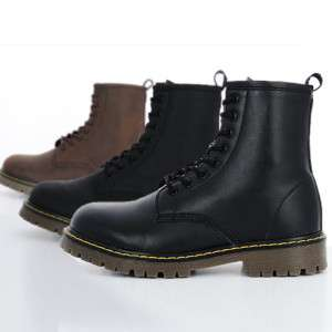 Mens Black Brown High Top Combat Boots US size 7~10.5
