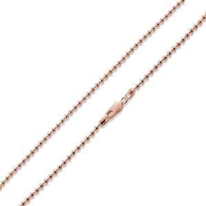 Rose Gold Plated Silver Italian 30 Bead Chain 3.0mm Jewelry