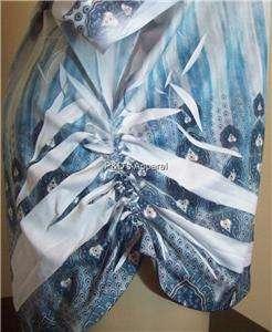 Womens Plus Size Bellezza Clothing Blue White 2XL 3XL Shirt Top Blouse