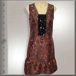 SIMPLY VERA WANG New RED ROSE Print DRESS w/Black Sequins SMALL