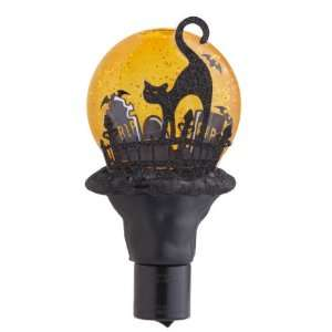 HAUNTED GRAVEYARD Black Cat Halloween NIGHT LIGHT New In