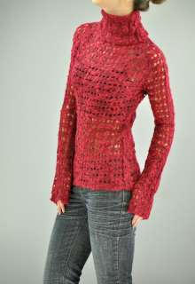 Red & Black Casual Knitted SWEATER Top Juniors Misses See Through
