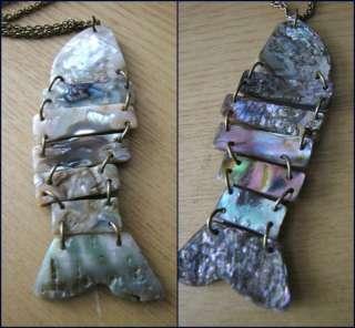 Vtg ART DECO opal PENDANT seashell hoop Fish necklace