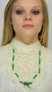 VTG 70s GAUZE Hippie WEDDING Lace CROCHET Maxi DRESS M