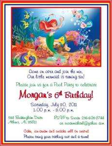 The Little Mermaid Birthday Invitations ~ Style #1