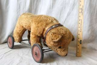 L350 ANTIQUE C. 1910 GERMAN STUFFED TEDDY BEAR PULL TOY