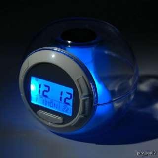 LED 7 Color Nature Sound Temperature Countdown Timer Music Alarm Clock
