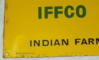 IFFCO FERTILISERS Vintage Porcelain Enamel Sign c1940s