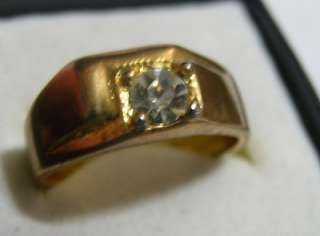 Solitare Cubic Zirconia, gold, Mens Ring Size 12 #